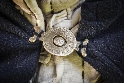Historical Reenactment: Brooch for Fastening Soldier's Cloak, Byzantine Civilization, 11th Century--Photographic Print