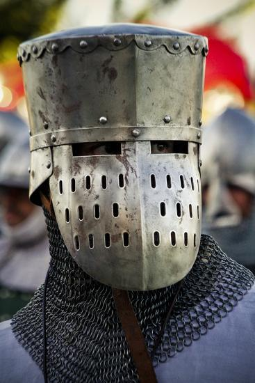 Historical Reenactment: Crusader Flat Top Great Helm with Visor  Photographic Print by | Art com