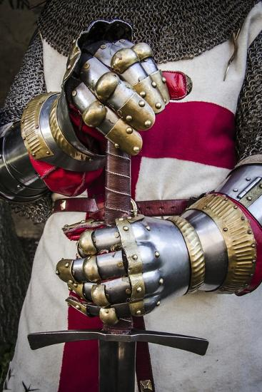 Historical Reenactment: Crusader Knight with Sword and Gauntlets with Jointed Iron Protective Cover--Photographic Print
