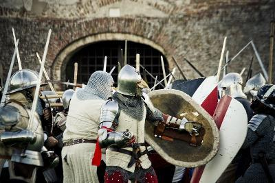 Historical Reenactment: Fighting Between Armour-Clad Soldiers with Shields, 14th Century--Photographic Print