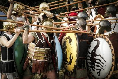 Historical Reenactment: Fighting Between Athenian Hoplites (Armed Infantry Soldiers) and Spartans--Photographic Print