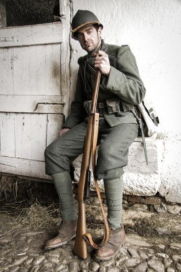 Historical Reenactment: Foot Soldier in Italian Army--Photographic Print