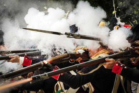 Historical Reenactment: French Front-Line Infantry Firing on Enemy--Photographic Print
