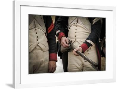 Historical Reenactment: French Soldiers Armed with Muzzle-Loading Guns Preparing to Face the Austri--Framed Photographic Print