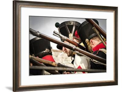 Historical Reenactment: French Soldiers Loading Muzzle-Loading Rifles--Framed Photographic Print