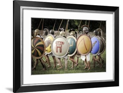 Historical Reenactment: Hoplite Phalanx. Ancient Greece, 7th Century Bc--Framed Photographic Print