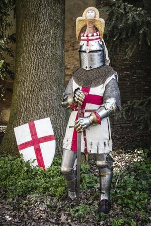 Historical Reenactment: Knight with Armour, Chain Mail and Sword, 14th Century--Photographic Print