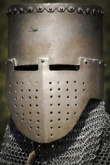 Historical Reenactment: Medieval Knight with Great Helm and Chain Mail, 13th Century--Photographic Print