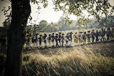 Historical Reenactment: Napoleon's Troops Advancing into Enemy Territory--Photographic Print