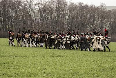 Historical Reenactment: Napoleon's Troops Marching Towards Austerlitz--Photographic Print