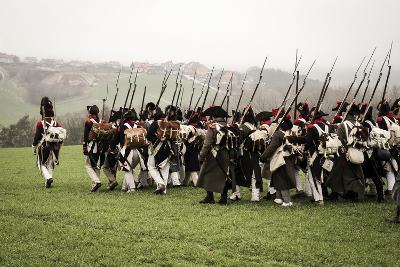 Historical Reenactment: Napoleon's Troops Marching Towards Austerlitz--Photographic Print