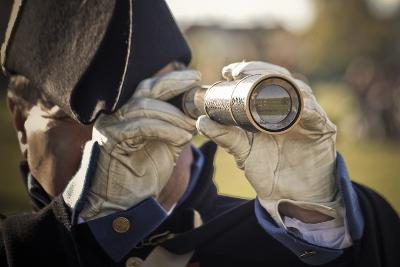 Historical Reenactment: Officer in Napoleon's Army Using Telescope to View Enemy Troop Positions--Photographic Print