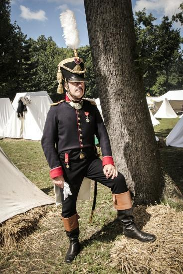 Historical Reenactment: Officer of Napoleon's Army in Military Camp, Napoleonic Wars, 19th Century--Photographic Print