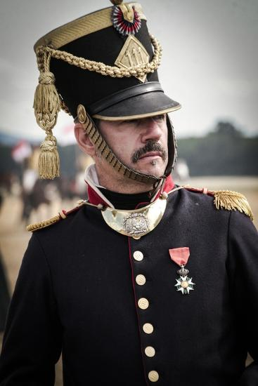 Historical Reenactment: Officer of Napoleon's Army in Military Camp--Photographic Print