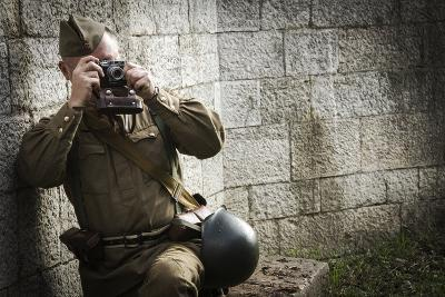 Historical Reenactment: Red Army Soldier Taking Photograph--Photographic Print