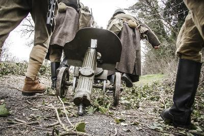 Historical Reenactment: Red Army Soldiers Carrying M1910 Pm Machine Gun. Second World War--Photographic Print