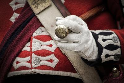 Historical Reenactment: Scottish Officer in British Army Holding Commander's Baton, 18th Century--Photographic Print