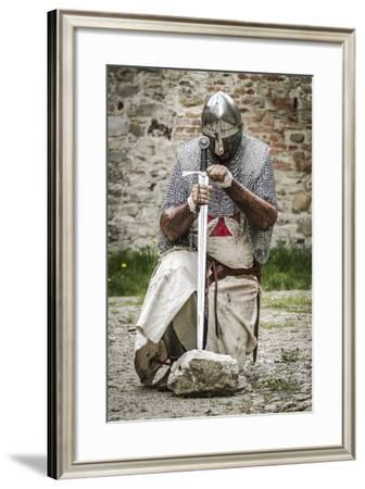 Historical Reenactment: Templar Knight Kneeling in Prayer, 13th-14th Century--Framed Photographic Print
