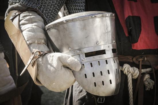 Historical Reenactment: Templar Knight Wearing Great Helm and Chain Mail,  Crusades, 13th Century Photographic Print by | Art com