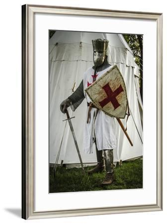Historical Reenactment: Templar Knight with Great Helm, Sword and Shield, 13th Century--Framed Giclee Print