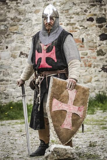 Historical Reenactment: Templar Knight with Helmet, Sword and Shield, 13th Century--Photographic Print