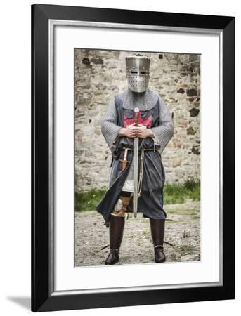 Historical Reenactment: Templar Knight with Sword and Great Helm, 13th Century--Framed Photographic Print