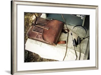 Historical Reenactment: Topographic Map and Headphones for Radio Broadcasts in German Camp--Framed Photographic Print