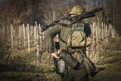 Historical Reenactment: Wehrmacht Soldier with Mg34 Machine Gun (Maschinengewehr 34)--Photographic Print