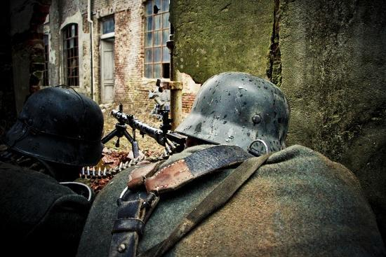 Historical Reenactment: Wehrmacht Soldiers with Mg34 Machine Guns (Maschinengewehr 34) in Factory i--Photographic Print
