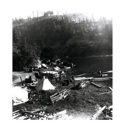 Historical Underwood (Big White Salmon) Indian Village, Circa 1936--Giclee Print
