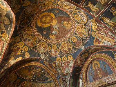 Historical Wallpaintings in Panagia Forviotissa Church in Asinou, Troodos Mountains, Cyprus-Katja Kreder-Photographic Print