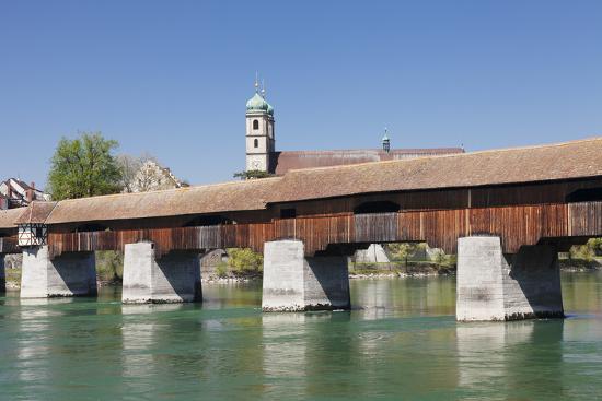 Historical Wooden Bridge and Cathedral (Fridolinsmuenster)-Markus Lange-Photographic Print