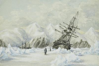 Hm Ships Enterprise and Investigator, Drifting Down Barrow Strait-Edward Adams-Giclee Print