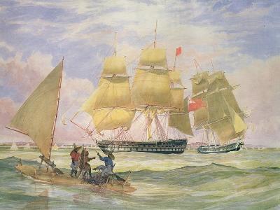 Hm Ships 'Ganges' and 'sapphire' Off Pernambuco, 1829-Emeric Essex Vidal-Giclee Print