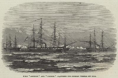 HMS Amphion and Cruiser Capturing Two Russian Vessels Off Riga--Giclee Print