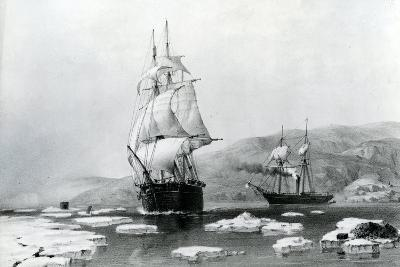 HMS Assistance and Pioneer Breaking Out of Winter Quarters in 1854--Giclee Print