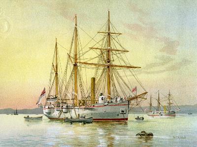 HMS Bramble, Royal Navy 1st Class Gunboat, C1890-C1893-William Frederick Mitchell-Giclee Print