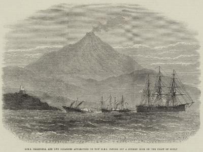 HMS Caledonia and Two Steamers Attempting to Tow HMS Psyche Off a Sunken Rock on the Coast of Sicil--Giclee Print