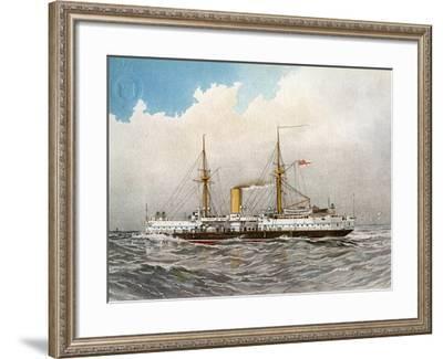HMS Colossus, Royal Navy 2nd Class Battleship, C1890-C1893-William Frederick Mitchell-Framed Giclee Print