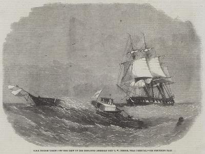 HMS Diadem Taking Off the Crew of the Dismasted American Ship C W Connor, Near Bermuda-Edwin Weedon-Giclee Print