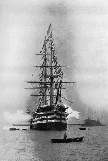 HMS Duke of Wellington Firing a Royal Salute as Flagship at Portsmouth, Hampshire, 1896-Symonds & Co-Giclee Print