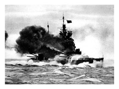 HMS 'Duke of York' Firing a Broadside; Second World War--Giclee Print