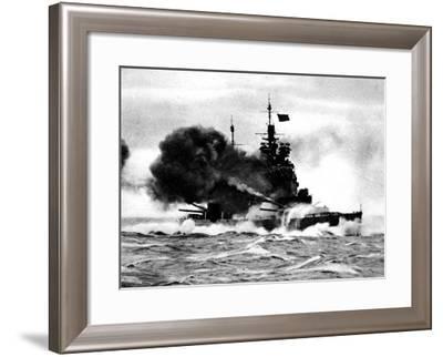 HMS 'Duke of York' Firing a Broadside; Second World War--Framed Giclee Print