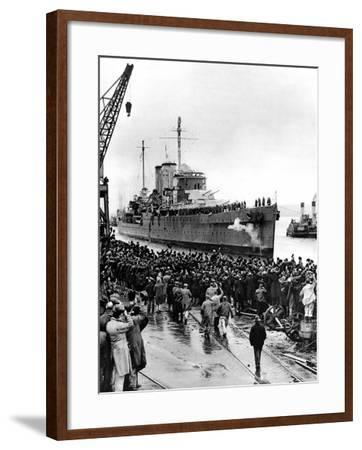 HMS 'Exeter' Arriving at Plymouth, Second World War, 1940--Framed Photographic Print