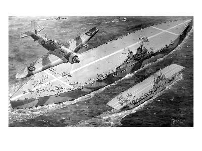 HMS 'Habbakuk' with HMS 'Indefatigable', 1946--Giclee Print