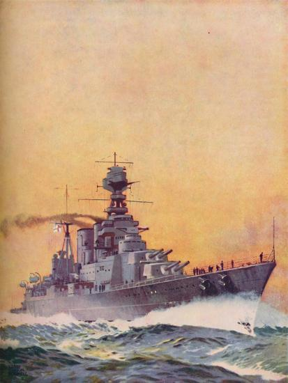 'HMS Hood was laid down in 1916 and completed in 1920', 1937-Unknown-Giclee Print