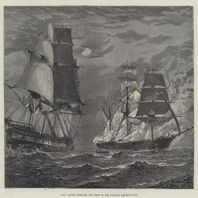 HMS Liffey Rescuing the Crew of the Burning Barque Anita--Giclee Print