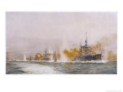 """Hms """"Lion"""" Leads the Battle- Cruisers into the Fray at the Battle of Jutland-William Lionel Wyllie-Giclee Print"""