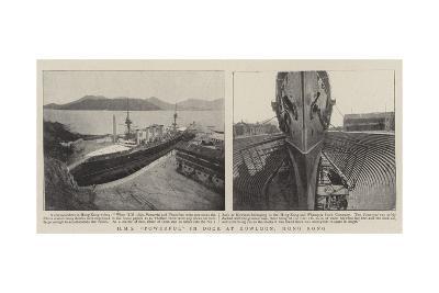 HMS Powerful in Dock at Kowloon, Hong Kong--Giclee Print