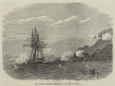 HMS Rinaldo Bombarding Salangore, in the Strait of Malacca--Giclee Print